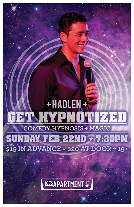 Vancouver Hypnotist Hadlen featured at joes apartment on granville street in BC